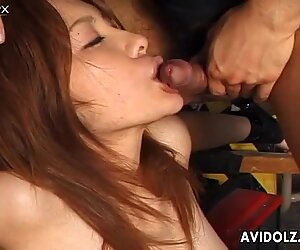 Lustful Japanese slut Kaori Manaka sucks a small cock and gets nailed in a mish