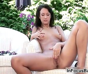 Small breasted Oli has an intense orgasm from fingers