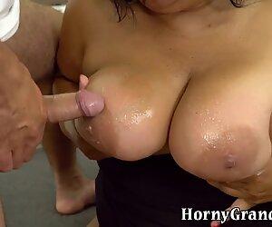 Granny sucks dick for cum