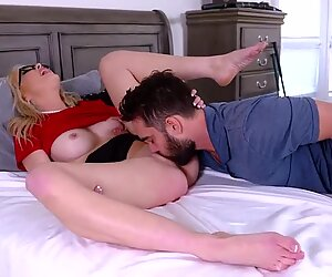 Stud fucking a hot blonde milf from below as she rides him