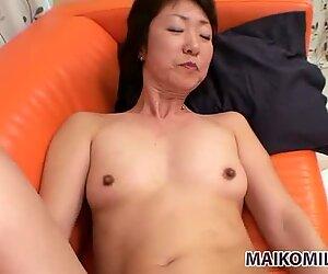 Slim and fit japanese granny Yukiko Ishii getting thrusted hard doggystyle
